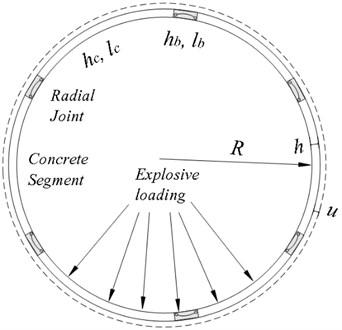 Diagram of a segmental tunnel under axisymmetric explosive loading