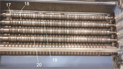 External view of 8 pockets of the folding machine and  of the pre-selected points of measurements (17-20)