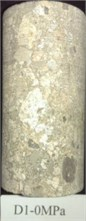 Typical rock samples before and after compressive tests