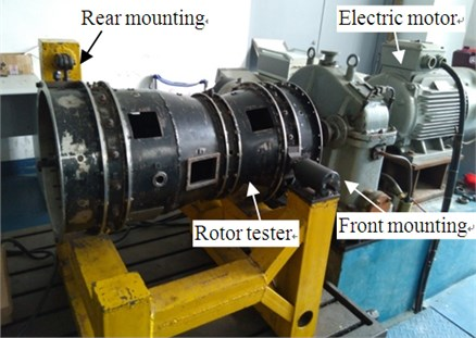 Aero-engine rotor tester. 1 – compressor rotor, 2 – roller bearing, 3 – compressor stator,  4 – squirrel cage elastic support, 5 – shaft, 6 – turbo rotor, 7 – ball bearing, 8 – turbo stator
