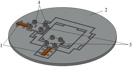 General view of a dual axis micropositioning stage: 1 – piezostack actuators;  2 – compliant mechanism; 3 – coupling plates; 4 – coupling bolts