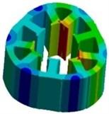 Stator modes: a) 1267 Hz, b) 2460 Hz, c) 3259 Hz, d) 5056 Hz