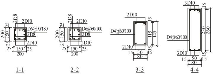 Instrumentation and reinforcement details of the model frame