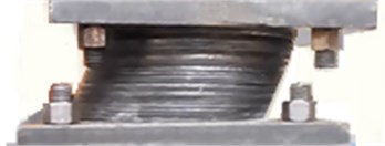 Picture of the ESI at a shear strain of 100 %. The sample with a: a) 5 mm gap, b) 8 mm gap