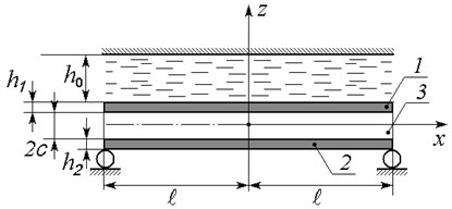 A schematic diagram of the three-layer beam interacting with thin liquid layer