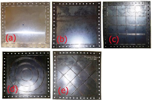 All infill plates: a) AL-SPSW, b) US-SPSW, c) CS-SPSW, d) CRS-SPSW and e) DS-SPSW
