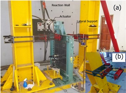 a) test setup and lateral support system, b) lateral support detail