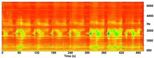 Frequency spectrograms of cutting sound for experiments: a) 8, b) 10