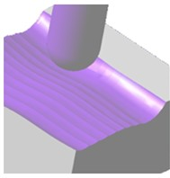 a) CAM simulation, b) machined part, c) force values for experiment 10