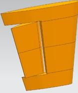 Computational model of rudder-wing: a) geometry model;  b) computational domain of flow field; c) mesh model