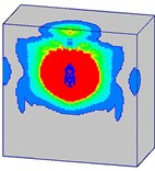 Damage processes of the normal strength concrete target  when the explosives are buried in the target (Case C)