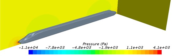 Contour for pressure around the high-speed train