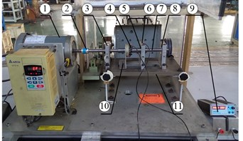 Bearing current damage test device: 1 – motor, 2 – coupling, 3 – bearing support,  4 – carbon brush, 5 – test bearing, 6 – loading device, 7 – shaft, 8 – insulated ceramic bearings,  9 – DC switching power, 10 – carbon brush support, 11 – base