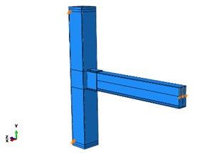 Simulation of an ordinary typical connection  and boundary conditions in the ABAQUS Software [7]