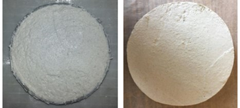 The samples of plaster prepared for testing