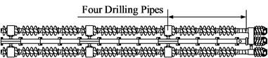Arrangement form of drill rod stabilizer in three-bit drilling tools