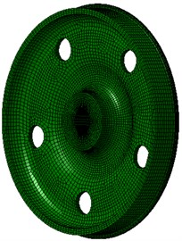 Geometric model and finite element model of the wheel
