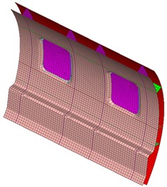 Mesh model of the aircraft cabin panel