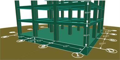 Three-dimensional plan of concrete twenty-story structure