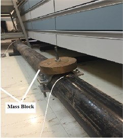 Mass block attached to the pipe