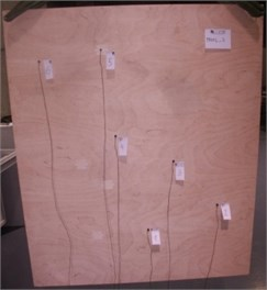Plywood panel with different accelerometer distributions
