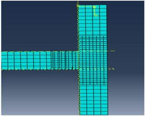 Initial finite element mesh modeled by ABAQUS software