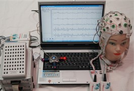 a) EEG collection and analysis system, b) EEG electrode attaching position