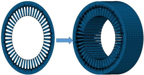 Finite element model of electromagnetic forces of motors