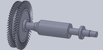 Three dimensional model of blade-disk rotor system