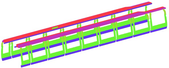 Surface meshes of high-speed train compartments and pipeline systems