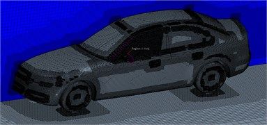 Computational domain meshes of flow fields of the vehicle