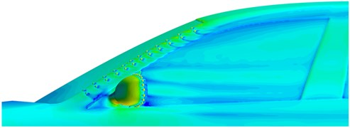 Velocity and pressure field distribution in side window regions