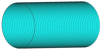 Three-dimensional picture of the cylindrical shell
