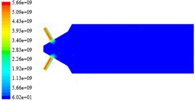 The non-linear tube turbulent dynamic pressure nephogram  in different initial turbulent kinetic energy