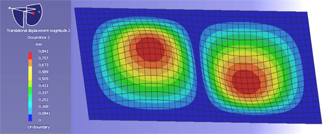 The second mode of vibrations of model vibrating surface obtained by author  with the use of LMS Virtual.Lab
