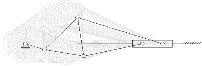 Six bar linkage motion simulation in Maple