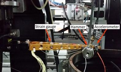 Experimental setup: a) strain gauges placement, b) accelerometers placement
