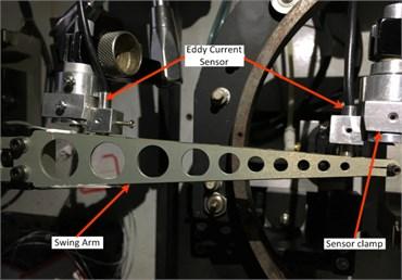 a) LED chip sorting machine sorting arm, b) Eddy current sensor arrangement