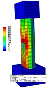 Steel tube Mises stress nephogram at yield load