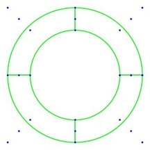 Diagram of circle and a quarter of cylinder