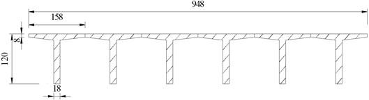 Cross-section of T beam (cm)