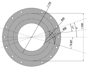 Designed webbing of the wheel with the vibration damping system:  a) overview, b) geometry of a single slot of the wheel webbing
