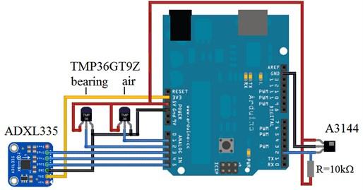 Connection scheme of sensors to Arduino Uno