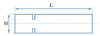 The basic dimensions of the sample. L= 180 mm – length of the sample,  H= 25 mm – the width of the sample; g= 2 mm – thickness