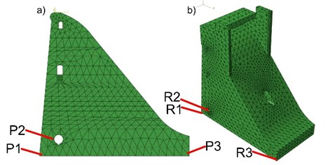 a) 2D, b) 3D numerical model with a mesh