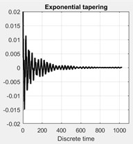 Effect of application of different tapering (windowing). Top plots show the autocorrelation  function for the four cases of tapering: a) without any tapering, b) tapered by Hanning window,  c) with the flat-triangular window, d) by an exponential window. e)-f) show the corresponding  spectral density plots of the singular values of the spectral matrix