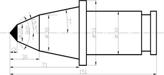 Geometric parameters of pick-type picks