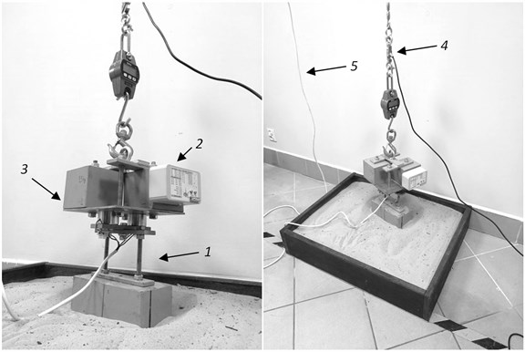 Test stand and measurement nodes location, 1 – electromagnetic gripper  with the load to drop, 2 – node for measuring the acceleration of the cargo,  3 – cargo, 4 – S load type cell, 5 – power source for the electromagnetic gripper
