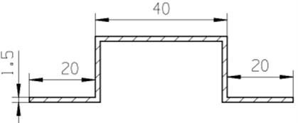 Sectional dimensions of the hat beam