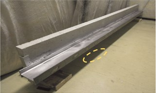 Steel-reinforced concrete slab a) with zoomed-in view of debonding labeled in  yellow dashed ellipse b)